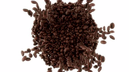 torrente : Roasted Coffee beans falling and mixing with slow motion