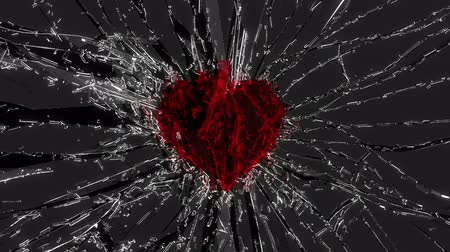 poškozené : Shattered glass: red broken heart shape. Alpha is included