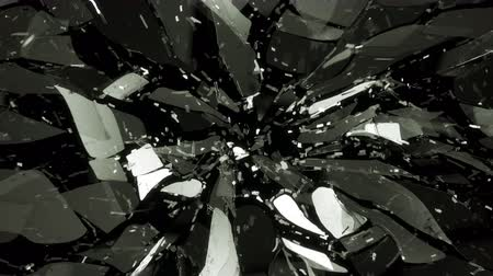 tükör : 4K Glass shattered in slow motion and motion blur. Alpha