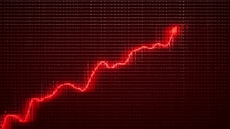 graph : Financial growth and red graph moving up Stock Footage
