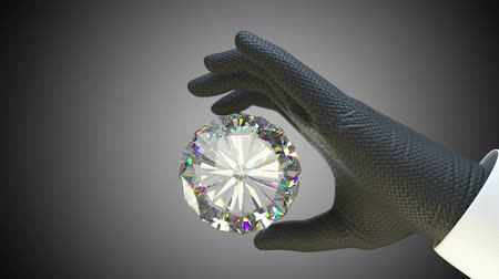 rombusz : Hand in glove holding huge gemstone or diamond with alpha matte
