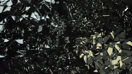 broken crash : Glass shattered and cracked in slow motion. Alpha matte Stock Footage