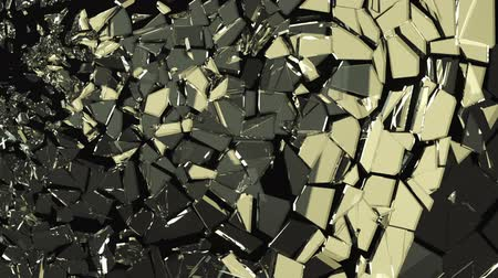 fosco : Glass shattered and cracked in slow motion. Alpha matte Stock Footage