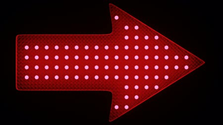 Set of arrow signs with flashing led lights. Alpha. 3d render. turn right, left Stock mozgókép
