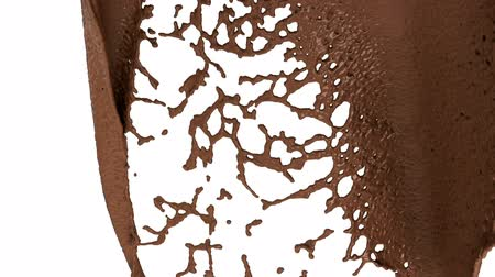 calor : Hot chocolate or cocoa splashes slow motion flow, alpha. 3d render. 3d animation Stock Footage