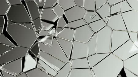 gunshot : Broken and damaged glass slow motion Alpha matte Stock Footage