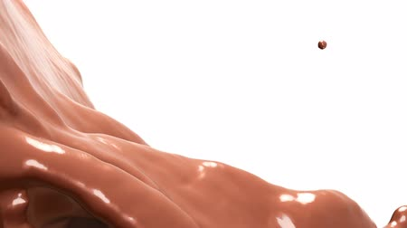 Hot chocolate or cocoa splashes slow motion flow, alpha. 3d render. 3d animation Stock mozgókép