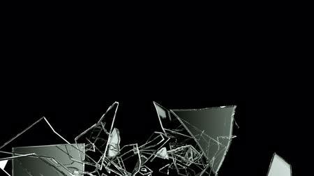 shattered : Glass crack and shatter with slow motion. Alpha, 3d render, 3d animation