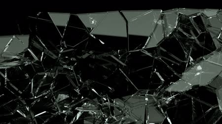 vandalismo : Broken and damaged glass slow motion Alpha matte Stock Footage