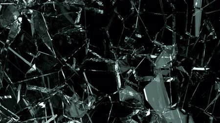 shattered : Broken and damaged glass slow motion Alpha matte Stock Footage