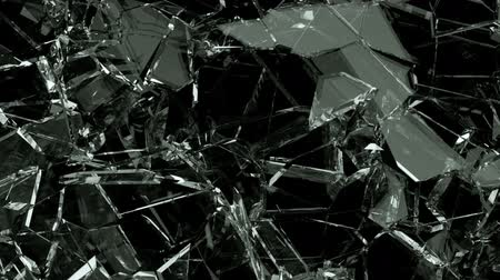 zbourán : Glass crack and shatter with slow motion. Alpha, 3d render, 3d animation