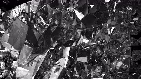 destruído : Glass shattered and broken in slow motion. Alpha matte. 3d render. 3d animation