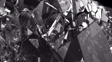 kurşun : Pieces of destructed Shattered glass in slow motion. Alpha matte Stok Video