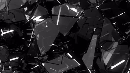 shattered : Pieces of destructed Shattered glass in slow motion. Alpha matte Stock Footage