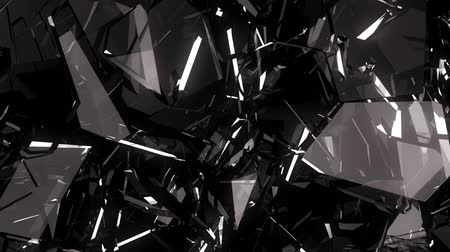 vandalismo : Pieces of destructed Shattered glass in slow motion. Alpha matte Stock Footage