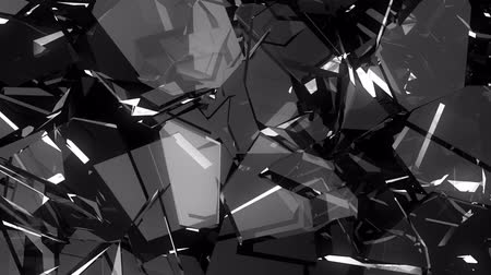 gunshot : Glass shattered and broken in slow motion. Alpha matte. 3d render. 3d animation