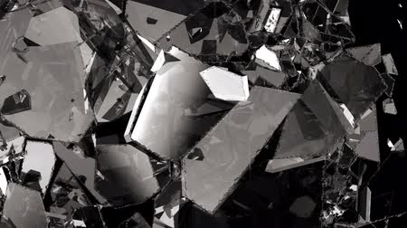 shattered : Glass shattered and broken in slow motion. Alpha matte. 3d render. 3d animation