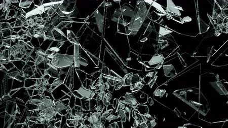 vrak : Glass shattered and broken in slow motion. Alpha matte. 3d render. 3d animation