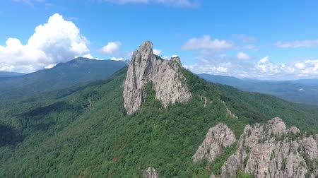 outlier : Beautiful rock formation in the Caucasus mountains. Aerial view. Stock Footage