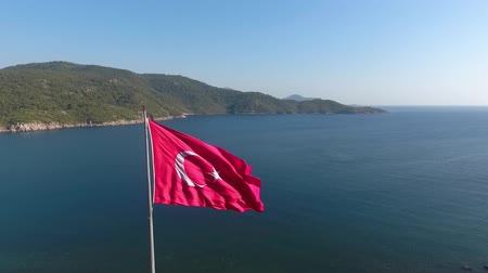 antalya : Waving flag of the sea Aerial view. Stock Footage