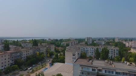 salt lagoon : Footage from the drone. The lake of Sakskoe in Saki, Crimea. Aerial view.