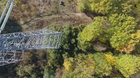 koşullar : Inspection of metal supports of high-voltage power line with a drone.