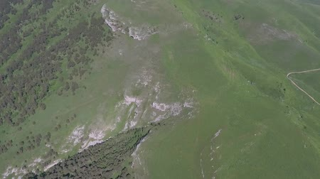 ot : Flying over the top of the mountain. North Caucasus, Russia.