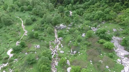parke taşı : Aerial view of the mountain stream. Stok Video