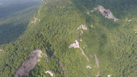 местность : Aerial view of the mountain gorge and river.