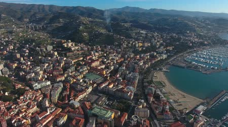 sea port : Air view of the city of Sanremo, Italy.