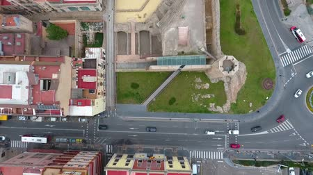 katalán : Flying over the ruins of the Roman circus in Tarragona, Spain. Top view.