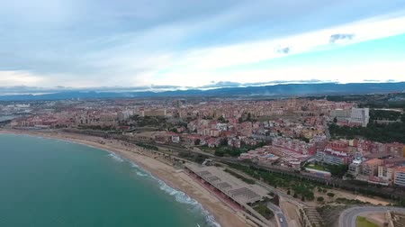 area of port : Panoramic aerial view of the Tarragona town, Spain. Stock Footage
