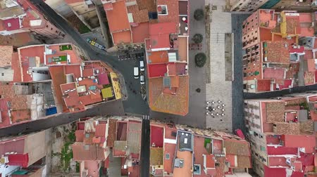 каталонский : Flying over the city of Tarragona, Spain. Top view. Стоковые видеозаписи