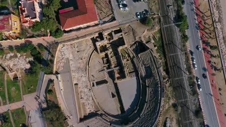 arkeolojik : Top view of the ruins of an ancient amphitheater. Tarragona, Catalonia, Spain.