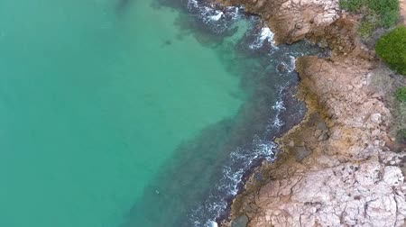 parke taşı : Rocky coast of the Mediterranean sea. Aerial view. Stok Video