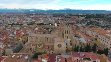 churchyard : Aerial view of the cathedral of Tarragona and old town. Tarragona, Catalonia, Spain. Stock Footage
