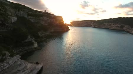 kalker : Aerial view of the Bay of Bonifacio on the island of Corsica.
