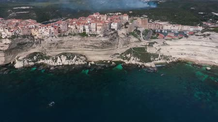 citadela : Aerial view of the city of Bonifacio on the island of Corsica in France.