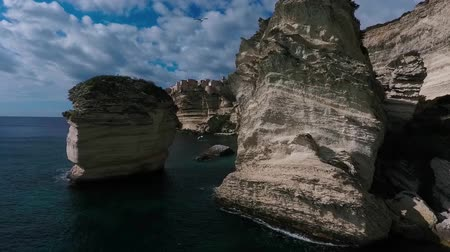 kalker : Aerial drone footage of limestone rocks of the island of Corsica.