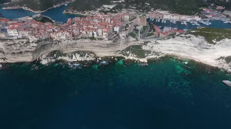 precipicio : Aerial view of the city of Bonifacio on the island of Corsica in France.