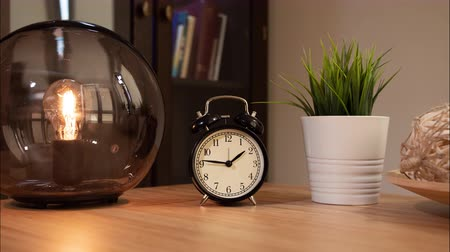 clockface : Alarm Clock Time Lapse Moving Hands with dolly motion.