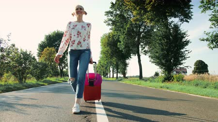 bavul : Cheerful Young lady with suitcase walking on road.