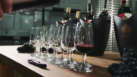 vinho : Pouring wine into wineglasses for degustation. Vídeos