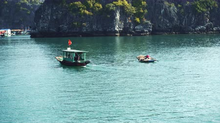 ba : Small Boats In Halong Bay. Cat Ba. Vietnam