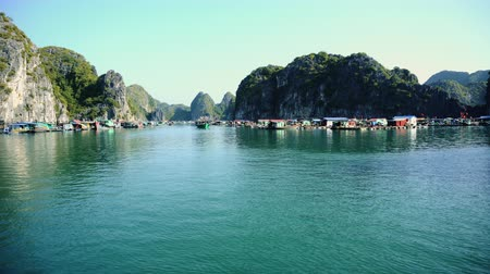 ba : Floating Fishing Village In The Ha Long Bay. Cat Ba Island, Vietnam Stock Footage