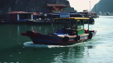 ba : Touring Boat In Halong Bay,cat Ba,halong Bay,vietnam Stock Footage