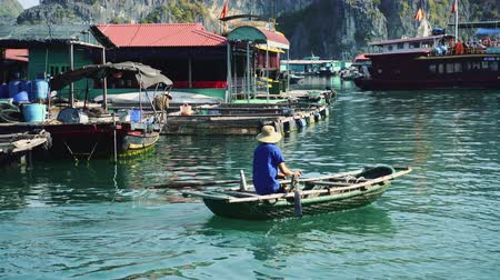 halong : Floating Fishing Village In The Ha Long Bay. Cat Ba Island, Vietnam.