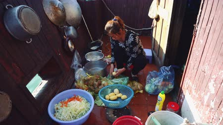 вьетнамский : Vietnamese woman cooking food on the boat