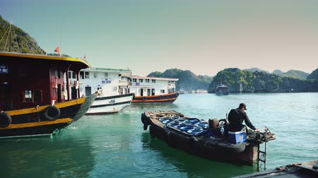 ba : Boats In Halong Bay. Cat Ba. Vietnam Stock Footage