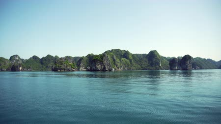 halong : Junk Boat Ride View Of Nature Scenery In Halong Bay Vietnam Stock Footage